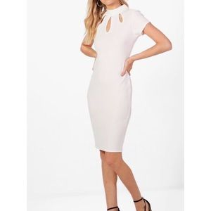 NWT ivory cut out chic midi dress